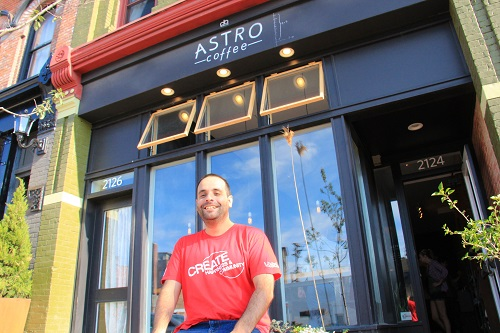 Me at Astro Coffee, Corktown, Detroit