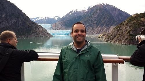 Wearing rain gear at Sawyer Glacier in Alaska.
