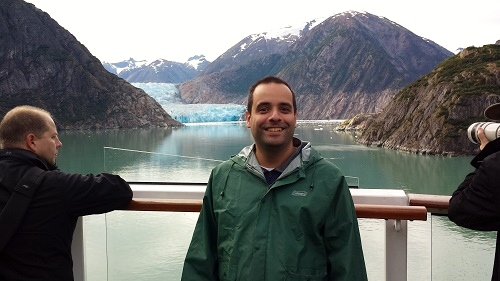 Wearing rain gear at Sawyer Glacier in Alaska.