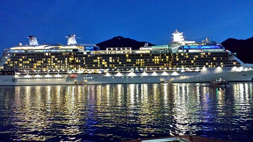 Celebrity Solstice lit up in Juneau, Alaska