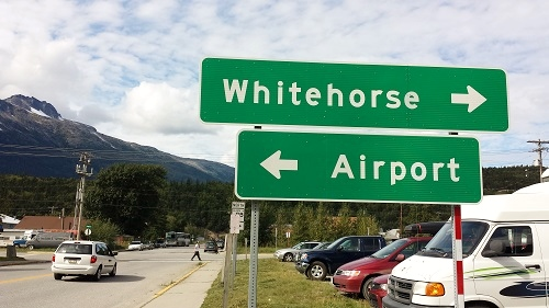 Yukon travel signage in Skagway, Alaska