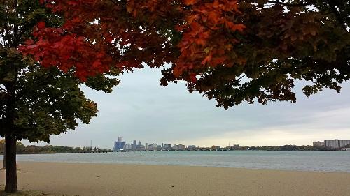 Michigan, fall leaves, Autumn, Detroit skyline