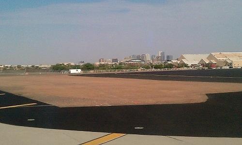 Phoenix, Arizona skyline from the  airport