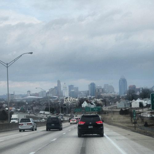 Cincinnati, Ohio skyline from I-75 and Covington, Kentucky