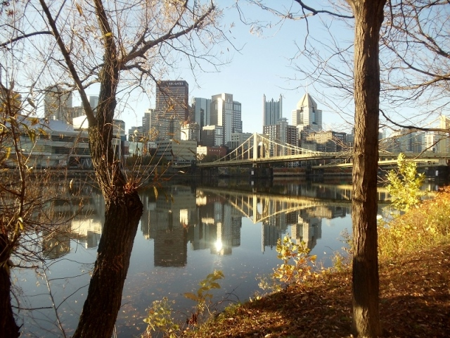 Pittsburgh skyline, Allegheny River, Three Rivers Riverfront Trail