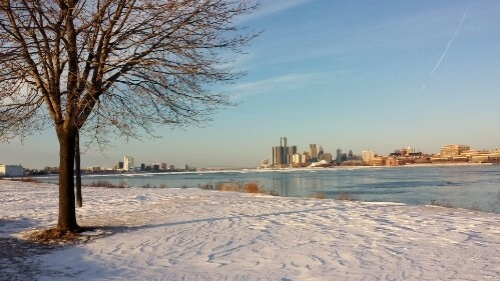 Belle Isle park, Detroit, Michigan, Windsor, Ontario, Canada, winter