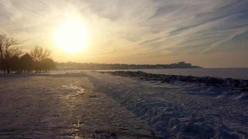 Edgewater Park, Lake Erie, Cleveland, Ohio, dusk, sunset