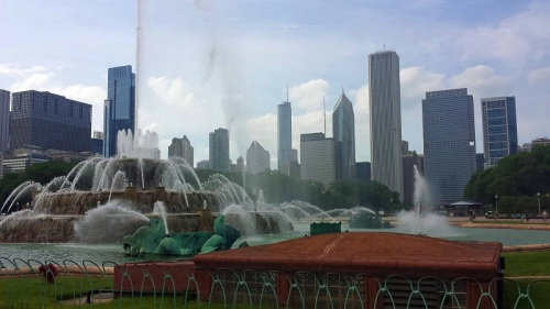 Grant Park, Chicago, skyline, Buckingham Fountain