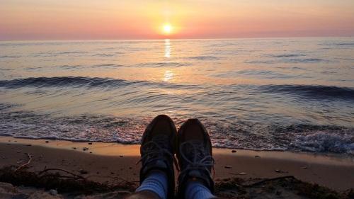 Lake Huron, sunrise, Michigan