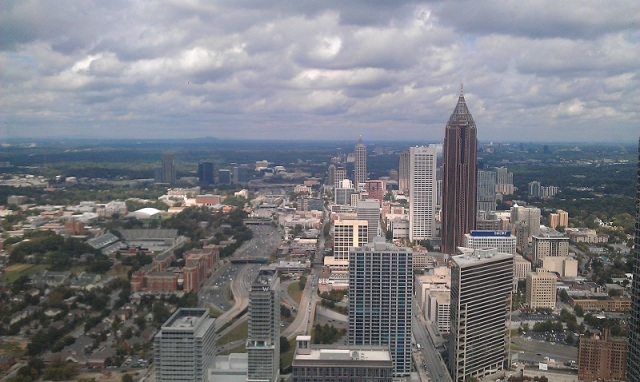 Atlanta Midtown & Atlantic Station skylines from The Sun Dial Restaurant Bar & View