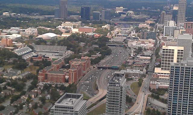 Atlanta Downtown Connector from up-top The Sun Dial Restaurant Bar & View.