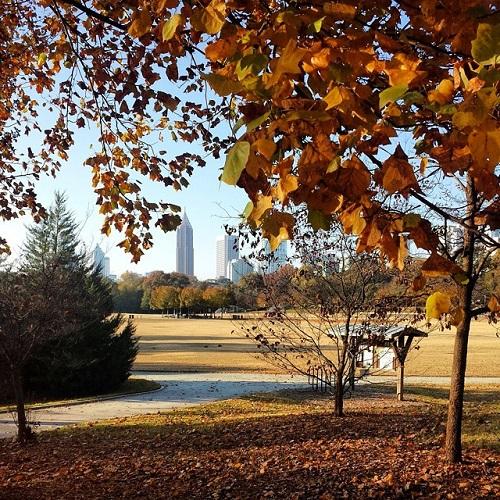 Piedmont Park, Atlanta, Georgia, Autumn skyline