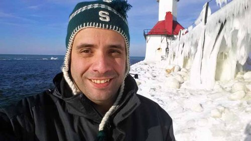 St. Jpseph, Michigan lighthouse, Lake Michigan selfie