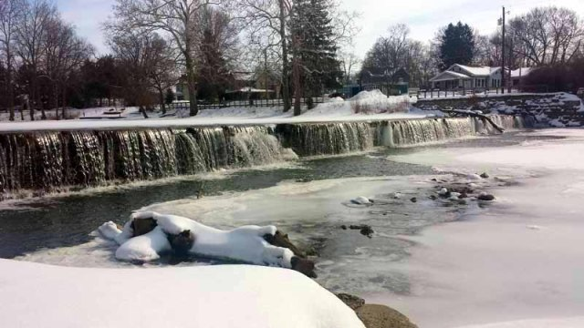 Findlay, Ohio, winter, Blanchard River, Riverside Park