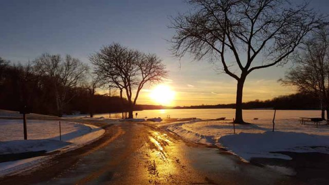 Winter Sunset - Kensington Park, Milford, Michigan