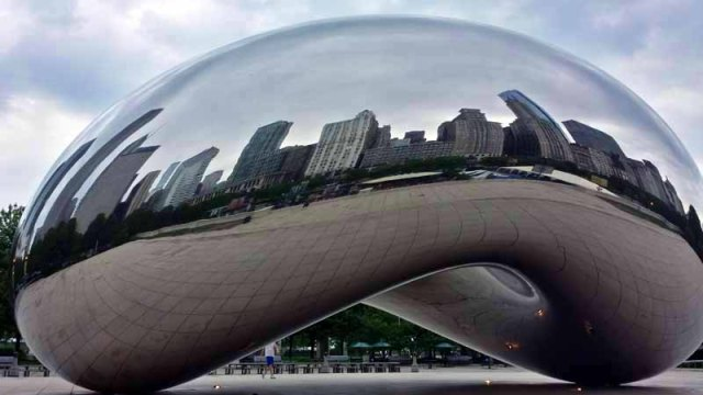 Chicago skyline reflecting off The Bean