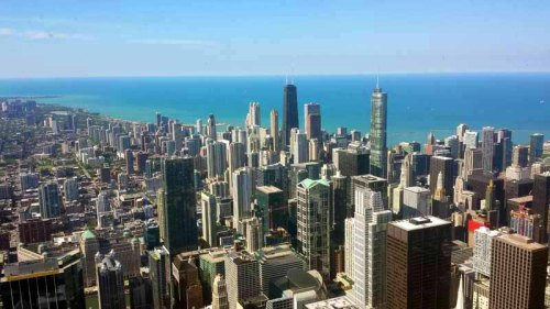 Chicago skyline from up-top Willis Tower, Sears Tower