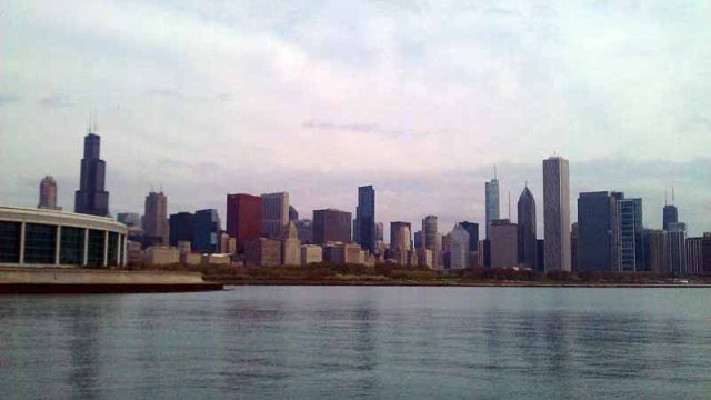 Chicago skyline from Shedd Auditorium