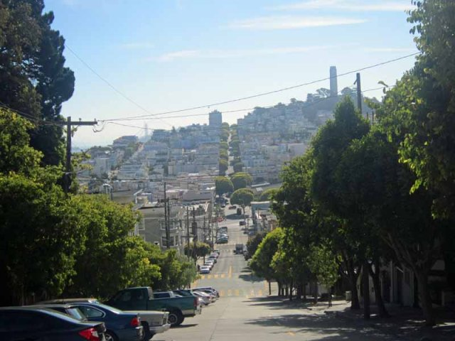 San Francisco skyline from Lombard Street