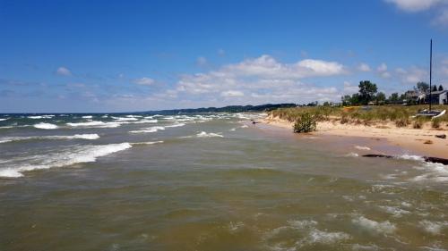 Lake Michigan and Grand Haven shoreline from North Shore Fisherman's Pier