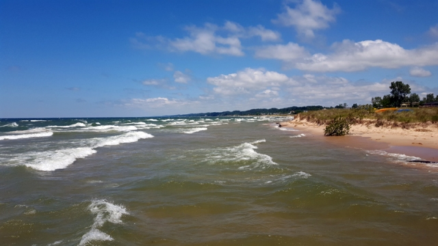 Lake Michigan and Grand Haven shoreline from North Shore Fisherman's Pier