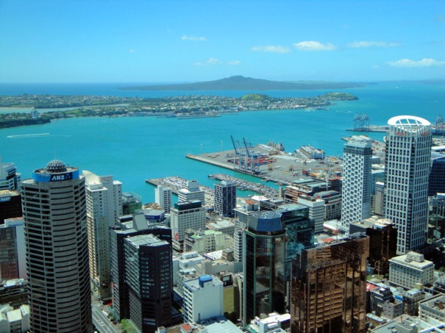 View up-top Sky Tower in Auckland, New Zealand - skyline, Ngataringa and Shoal Bay