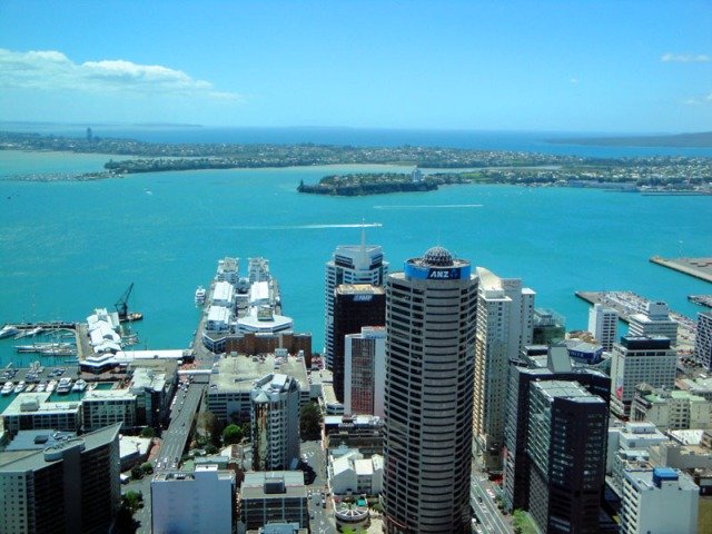 View up-top Sky Tower in Auckland, New Zealand - skyline