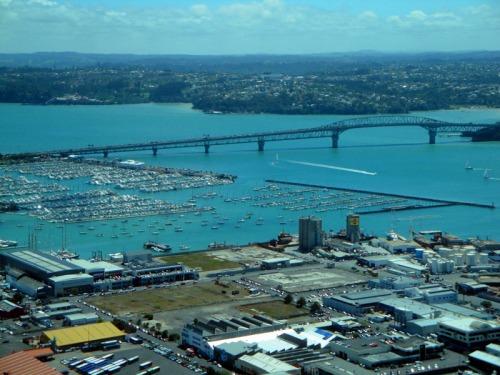 View up-top Sky Tower in Auckland, New Zealand - Auckland Harbour Bridge