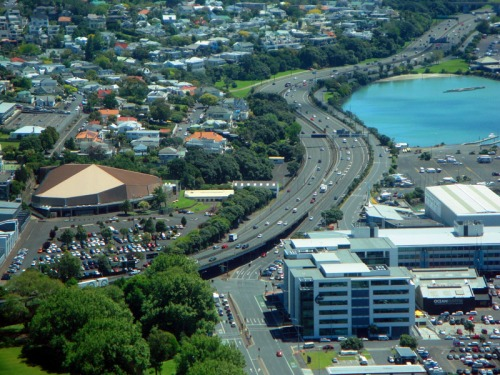 View up-top Sky Tower in Auckland - North Motorway (New Zealand State Highway 1)