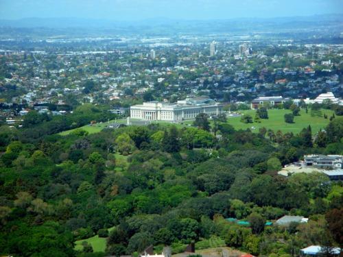 View up-top Sky Tower in Auckland, New Zealand - Auckland War Memorial Museum