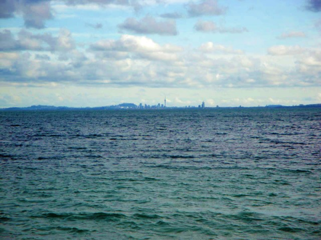 Auckland skyline from afar in New Zealand