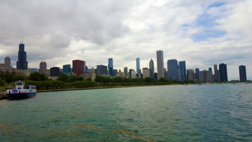 Chicago skyline from alongside Adler Planetarium and Lake Michigan
