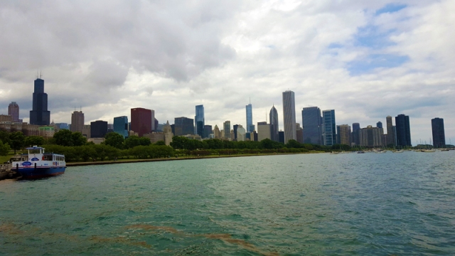 Chicago skyline from alongside Adler Planetarium and Lake Michigan
