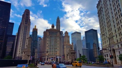 Chicago skyline from alongside Michigan Avenue