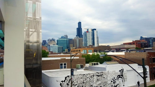 Chicago skyline from the Green Line in the West Loop