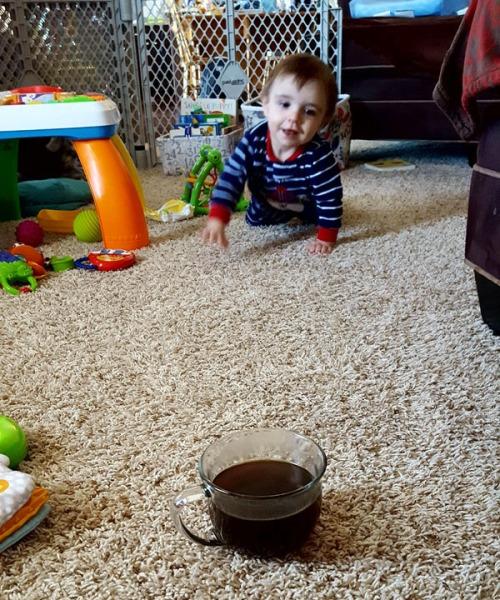 Son heading towards the coffee