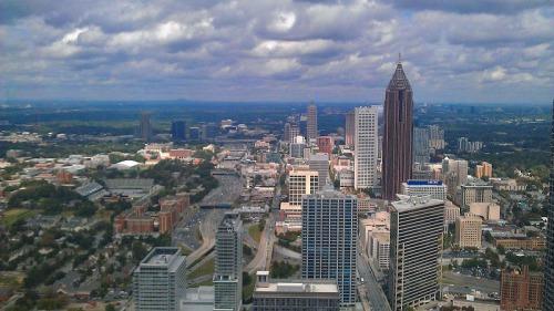 Atlanta skyline from up-top The Sun Dial restaurant