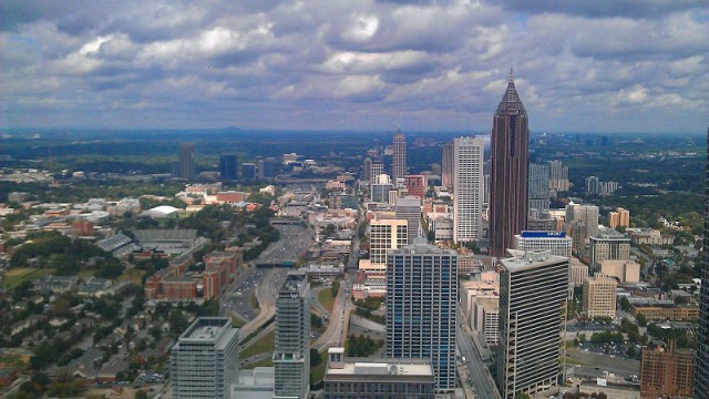 Atlanta skyline from up-top The Sun Dial restaurant