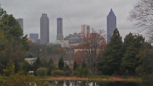 Atlanta skyline from immy Carter Library and Museum
