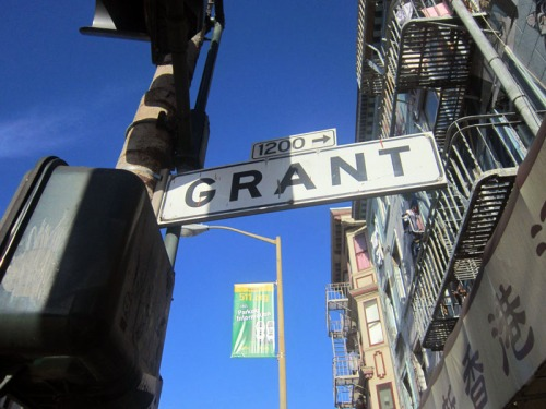 Vintage San Francisco street signage at Grant Street in Chinatown