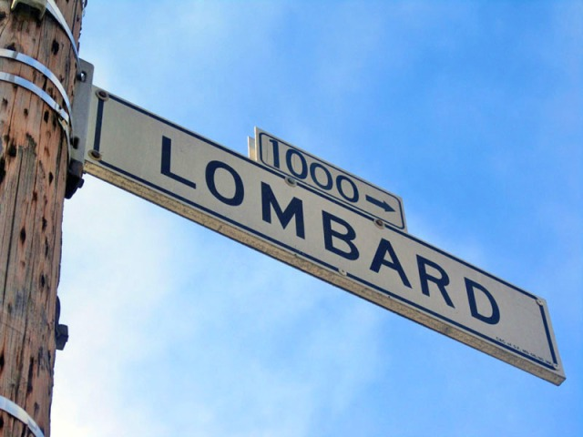 Vintage San Francisco street signage at the famous curvy Lombard Street