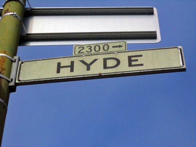 Vintage San Francisco street signage at historic Hyde and Lombard