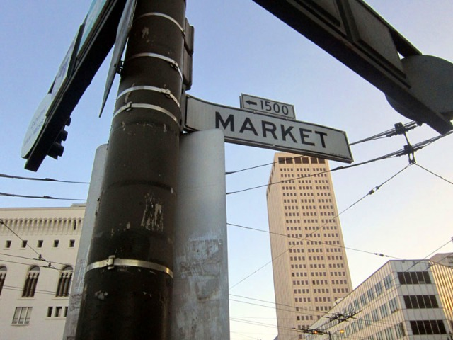 Vintage San Francisco street signage, Market Street