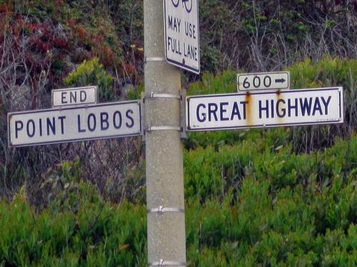 Vintage San Francisco street signage along Ocean Beach and Pacific Ocean