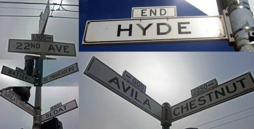 Vintage San Francisco street signage collage