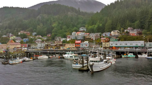 Ketchikan, Alaska, coming into port on a Celebrity Cruise