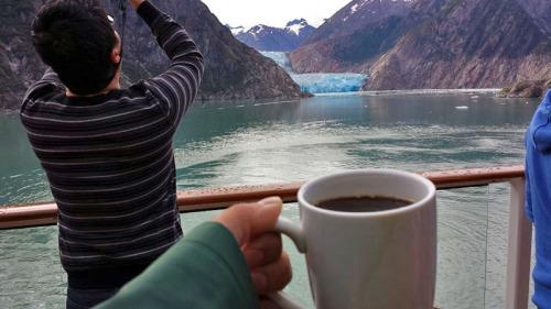 Sawyer Glacier, Tracy Arm Fjord, in Alaska, morning coffee