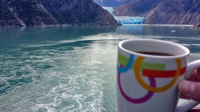 Sawyer Glacier, Tracy Arm Fjord, in Alaska, morning coffee