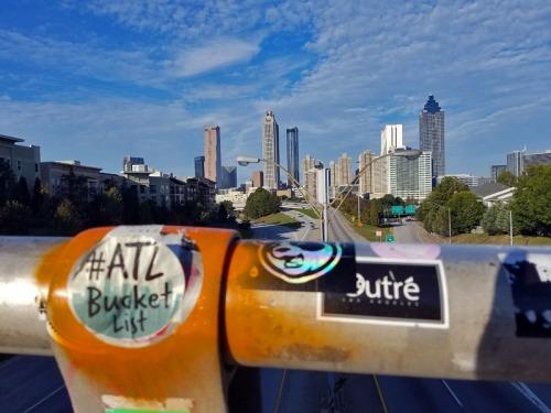 Downtown Atlanta skyline, Jackson Street Bridge, Old Fourth Ward neighborhood