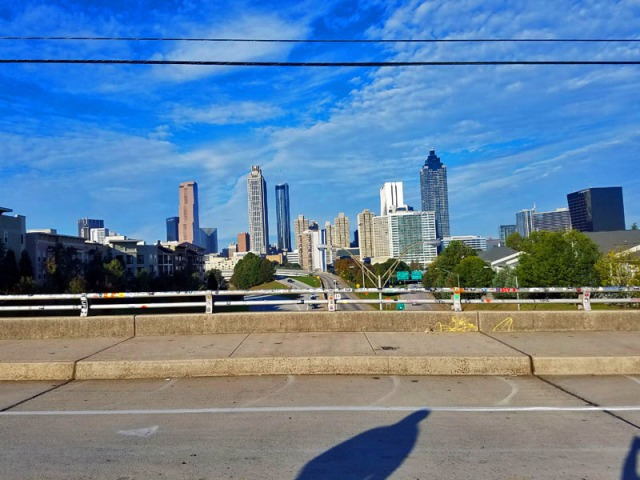 Downtown Atlanta skyline, Jackson Street Bridge, Old Fourth Ward neighborhood